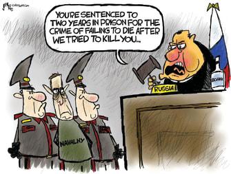 Political Cartoon World navalny putin sentence russia