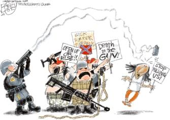 Editorial Cartoon U.S. anti lockdown protesters Minneapolis George Floyd