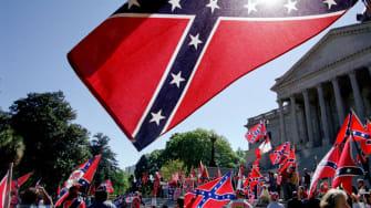 A Confederate flag.