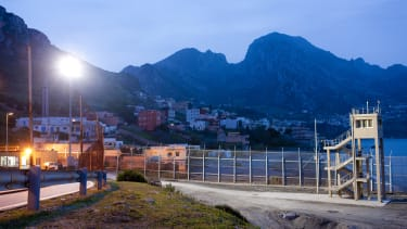 The border fence in Ceuta, Spain.