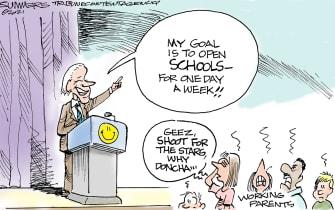 Political Cartoon U.S. biden covid school openings