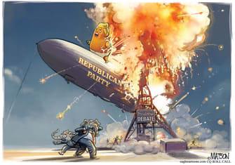 Political Cartoon U.S. Trump GOP debate Hindenburg