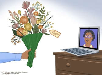 Editorial Cartoon U.S. mothers day social distancing coronavirus