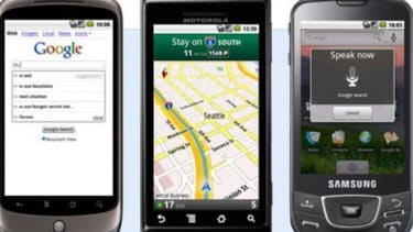 Many Android-powered mobile phones such as Verizon's Droid (center) come with Google applications pre-installed.
