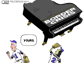 Political Cartoon U.S. biden harris mexico border