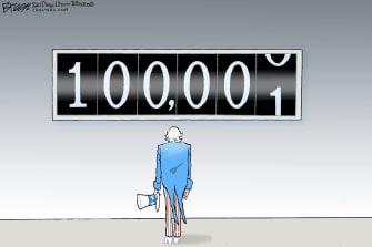 Editorial Cartoon U.S. Uncle Sam coronavirus deaths