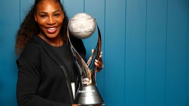 Serena Williams of the United States poses with the WTA world No.1 trophy
