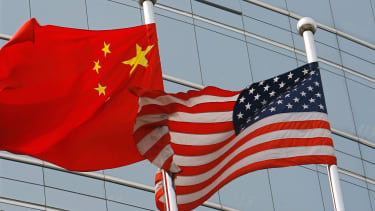 Flags from America and China