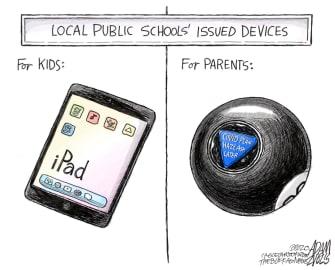 Editorial Cartoon U.S. schools covid devices