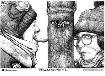 Political cartoon U.S. democrats impeachment a christmas story
