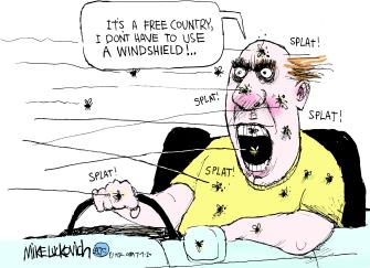 Editorial Cartoon U.S. coronavirus masks windshields