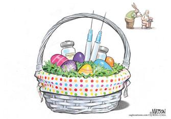 Editorial Cartoon U.S. easter basket vaccine