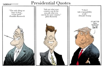 Political Cartoon U.S. presidential quotes Roosevelt Kennedy Trump no responsibility
