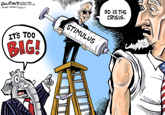 Political Cartoon U.S. biden covid stimulus gop