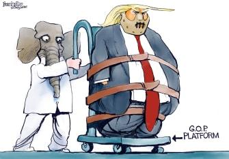 Political Cartoon U.S. Trump RNC GOP platform Hannibal Lecter