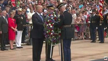President Trump lays a wreath at Arlington National Cemetery