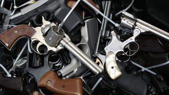 A pile of handguns