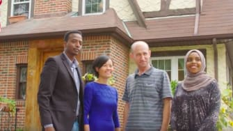 A group of refugees spent the weekend in the childhood home of Trump.