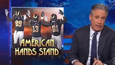 Jon Stewart mocks the St. Louis police union's response to the Rams' hands-up gesture