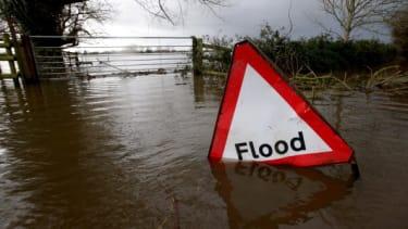 A flood warning sign.