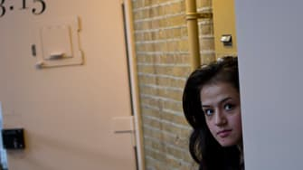 An Afghan refugee at the former prison of De Koepel in Haarlem, Netherlands.