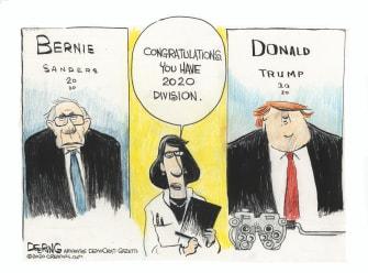 Political Cartoon U.S. Bernie Sanders 2020 election division