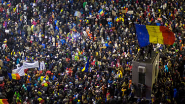Protesters in Bucharest, Romania.