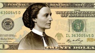 Clara Barton on a modified $20 bill.