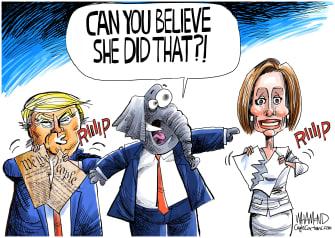 Political Cartoons U.S. GOP Pelosi speech tear Trump constitution
