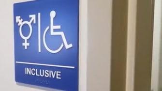 A gender inclusive bathroom.