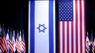 American and Israeli flags.
