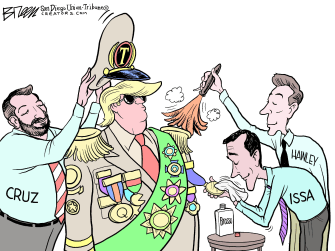 Political Cartoon U.S. Trump Issa Hawley Cruz