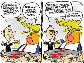 Political Cartoon U.S Trump Russian meddling 2020 election Parasite win