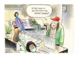 Editorial Cartoon U.S. COVID vaccine hoaxes