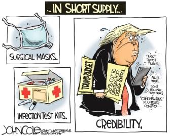 Political Cartoon U.S. Trump Mike Pence HHS CDC funding coronavirus health crisis detection