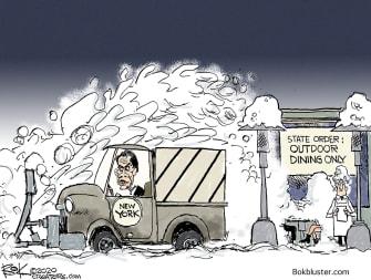 Political Cartoon U.S. Andrew Cuomo New York COVID outdoor dining