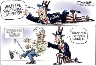 Political Cartoon U.S. life alert Uncle Sam elderly first line of coronavirus warfare U.S. economy