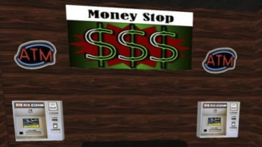 An avatar in the virtual world computer game Second Life in front of an ATM.