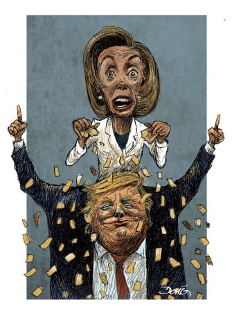 Political Cartoon U.S. Trump Nancy Pelosi State of the Union speaker speech ripped