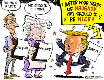 Political Cartoon U.S. Trump election fraud claims