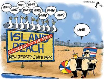 Political cartoon U.S. Chis Christie New Jersey beach closing