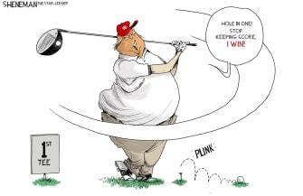 Political Cartoon U.S. Trump vote count golf
