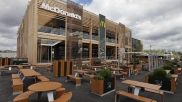 The newly constructed McDonald's at Olympic Park in East London features 20 cashier lines and is expected to serve 14,000 diners a day.