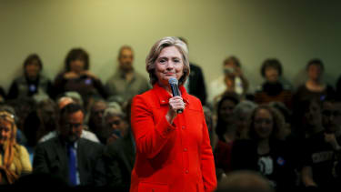 Hillary Clinton speaks at a campaign rally.