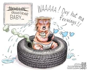 Political Cartoon U.S. Trump Goodyear twitter