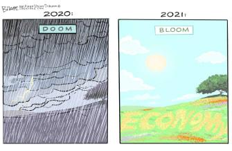 Editorial Cartoon U.S. 2020 spring economy 2021