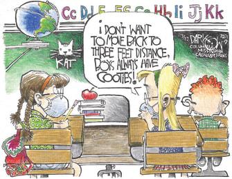 Editorial Cartoon U.S. cdc school social distancing