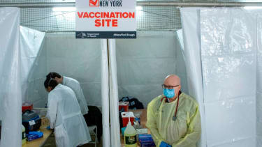 A COVID-19 vaccination site at Corsi Houses in Harlem New York