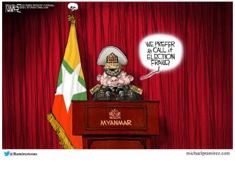 Political Cartoon World myanmar coup