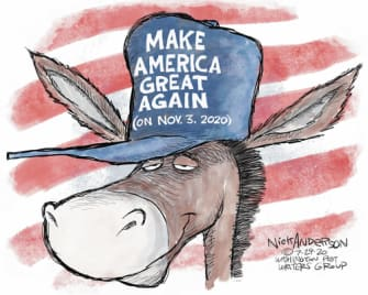 Political Cartoon U.S. Democrats MAGA 2020